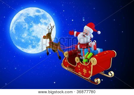 santa with only one reindeers sleigh