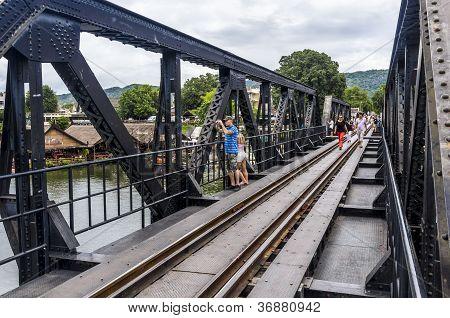 Tourists on Bridge on river Kwai