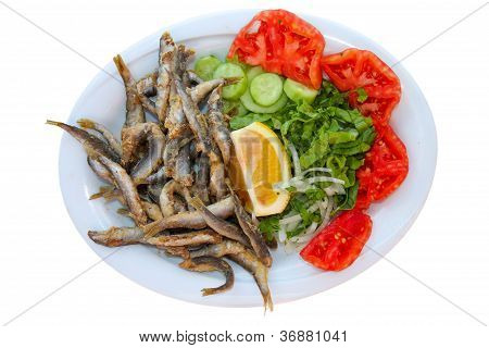 Fried Papalina Fishes with Salad