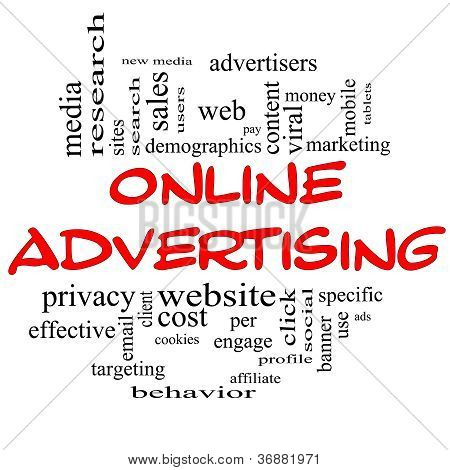Online Advertising Word Cloud Concept In Red & Black