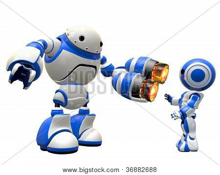Robot With Two Plasma Guns Pointing At Enemy