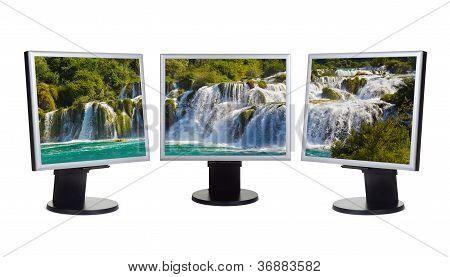 Cascada Krka (Croacia) en las pantallas de ordenador