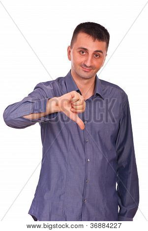 Confused Man With Thumb Down