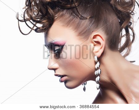 Beauty Fashion Style. Sexy Girl - Curly Luxury Coiffure