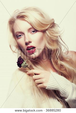 Pretty Female Face. Blond Long Hair. Red Flower - Rose