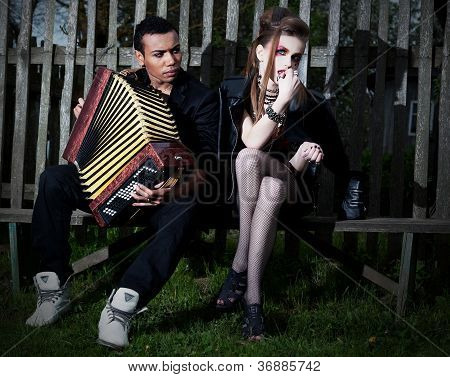 Two People In Evening Village Scenery Flirting