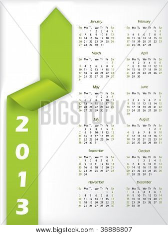 2013 Arrow Shaped Green Ribbon Calendar
