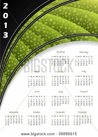 2013 Green Striped Calendar