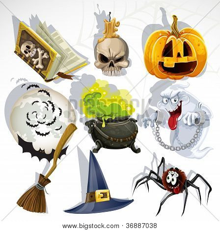 Collection of halloween related objects and creatures