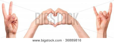 Hand Showing The Sign Of Peace, Love, Rock And Roll