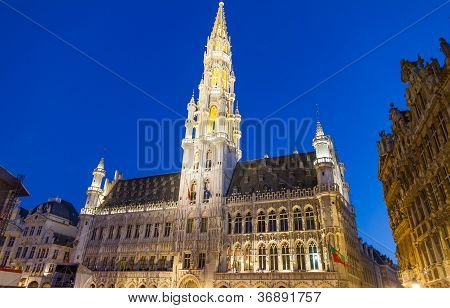 Detailed view of Grand Place in Brussels, Belgium (night shot)