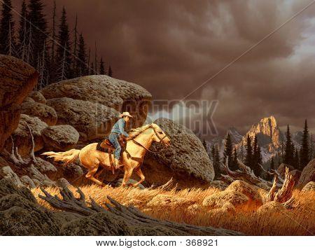 Cowboy In Storm