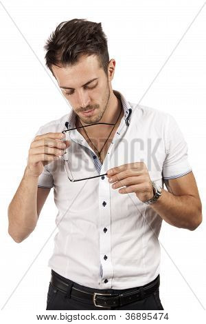 Man Checking His Glasses