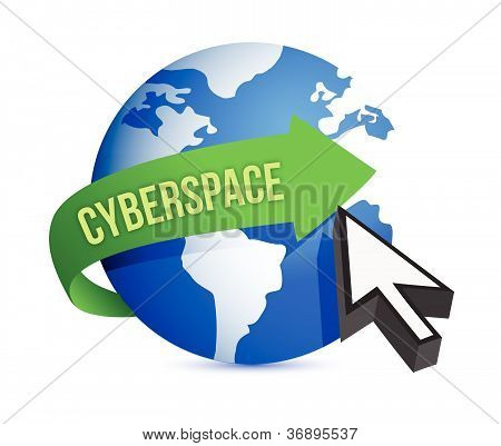 Blue Globe And Cursor Cyberspace Concept