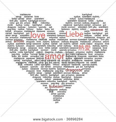 Love concept word in many languages of the world in red and blac