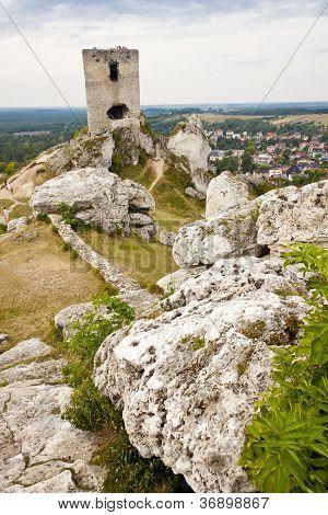 Old Fortification In Background Olsztyn Town.
