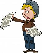 foto of newsboy  - Newsboy on a white background vector illustration - JPG