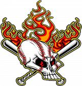 pic of fastpitch  - Cartoon Image of Flaming Baseball Bats and Skull with Baseball Laces - JPG