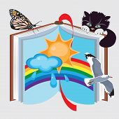 picture of childrens literature  - Book of nature vector illustration - JPG