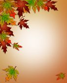 stock photo of fall leaves  - Illustration composition of colorful fall leaves for invitation border or background with copy space - JPG