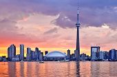 picture of urbanisation  - Scenic view at Toronto city waterfront skyline at sunset - JPG