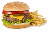 image of hamburger-steak  - Cheeseburger and french fries on a white background - JPG