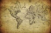 stock photo of atlantic ocean  - vintage retro map of the world 1814 - JPG