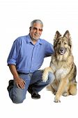 picture of mexican-dog  - A senior Hispanic man and his dog - JPG