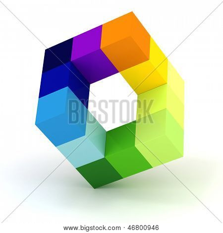 3d abstract cube design  on white background