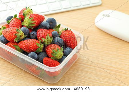 Healthy lunch box at office
