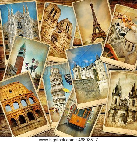 vintage collage - European travel