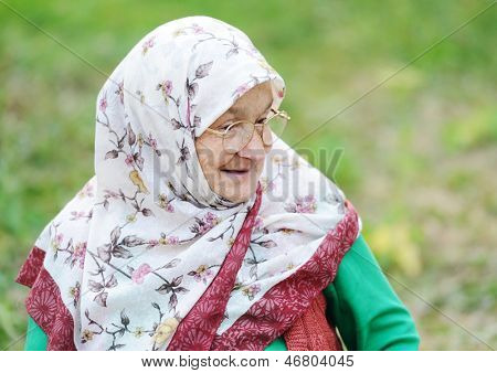 Portrait of a very old woman outdoor