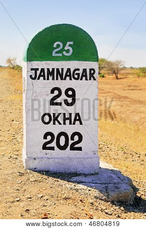 Vertical Portrait milestone Jamnagar Milestone India
