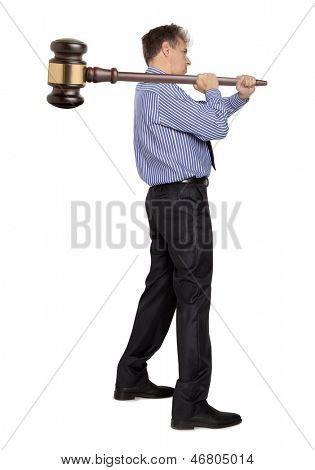 Businessman  holding wooden gavel on white background