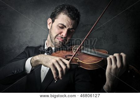 young musician playing violin