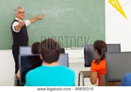 senior high school teacher teaching computer class