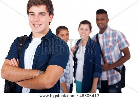 handsome high school student with friends over white background
