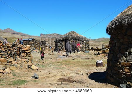 Unidentified family at Sani Pass, Lesotho