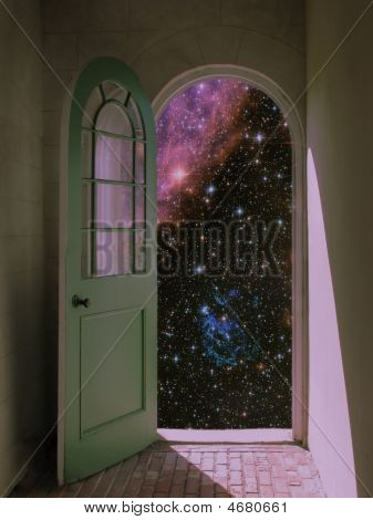 Outer Space Through Arched Doorway