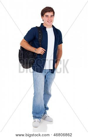 smiling high school teenage boy standing on white background