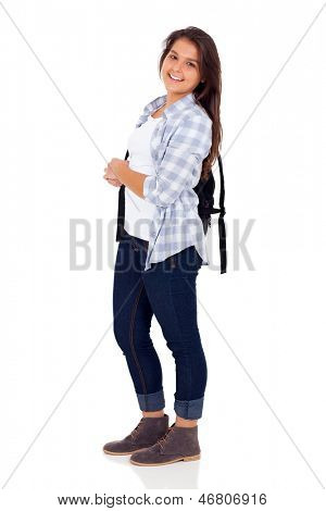 cute female high school student posing over white background