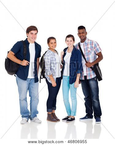 group of high school students isolated on white