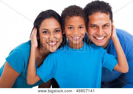 close up portrait of happy indian family