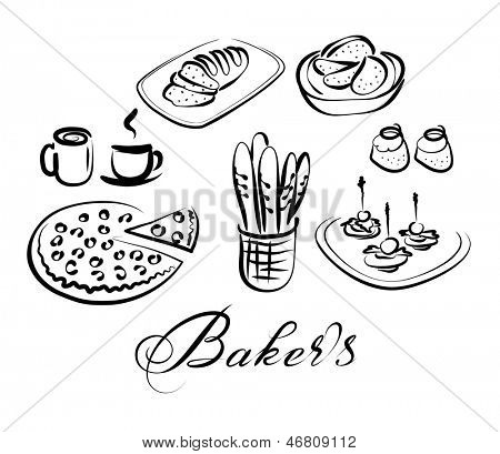 Stock photo of nourishment and beverages vector symbol set for Canape vector download