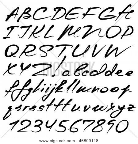 vector real hand calligraphic Alphabet, uppercase and lowercase letters, digits