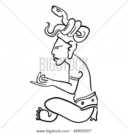 Vector Maya Image of the ancient Deity
