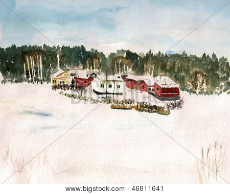 Finland Village Watercolor