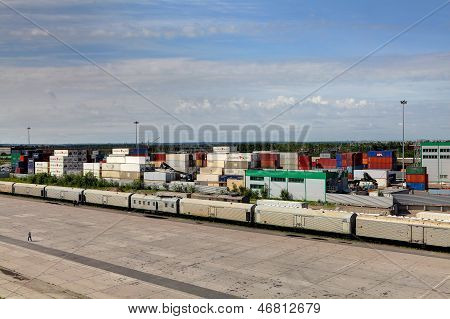 Container Terminal And Freight Train.