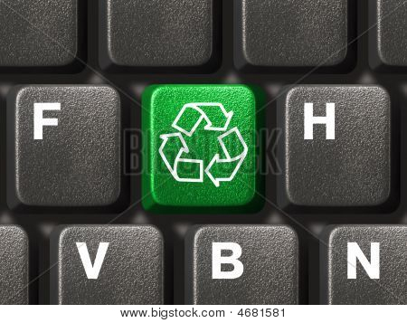 Computer Keyboard With Recycling Symbol