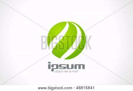 Green spiral sphere abstract logo template. Eco technology of future. Ecology concept icon. Vector. Editable.